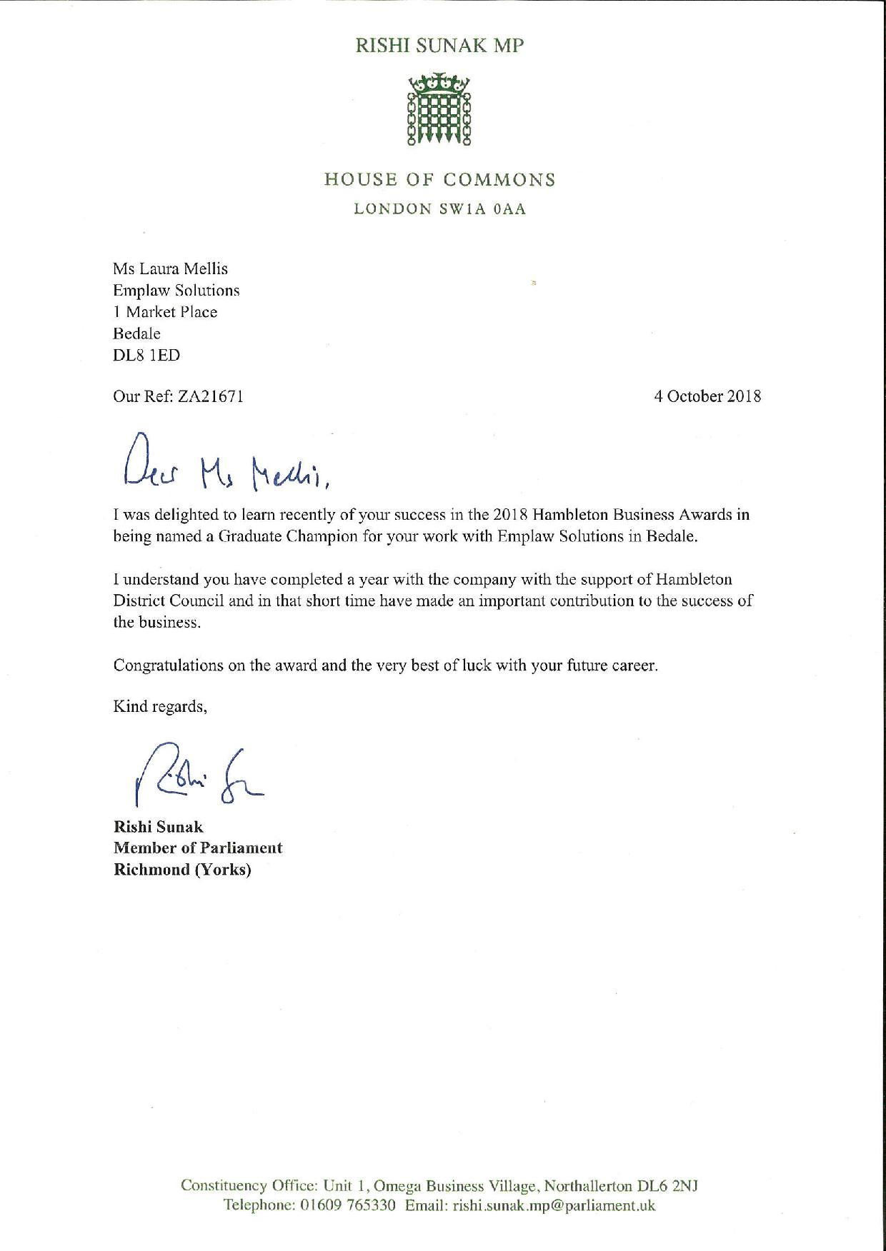 Congratulatory Letter For Award from www.emplawsolutions.co.uk